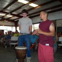 pirre gives djembe to brian